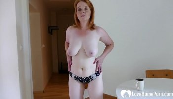 stunning redhead fucked hard and treated with a cum blast